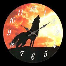 Horloge murale avec Loup Dans Le Coucher Du Soleil - Montre fantastique loups