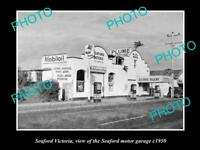OLD POSTCARD SIZE PHOTO OF SEAFORD VICTORIA MOBIL OIL SERVICE STATION c1950