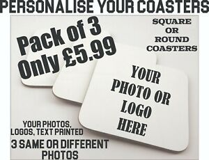 Personalised Coasters Set of 3 Custom Photo Print Logo Home Office Gifts Coaster