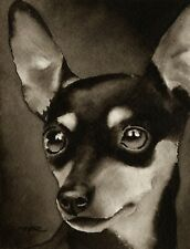 Miniature Pinscher Art Print Sepia Watercolor 11 x 14 by Artist Djr