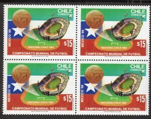 CHILE 1986 STAMP # 1174 MNH BLOCK OF FOUR SOCCER WC 86' MEXICO