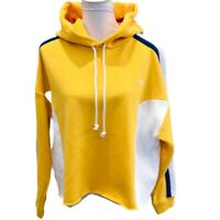 Levis Womens Cropped Hoodie Yellow Color Block Long Sleeve Pullover Plus 1X New