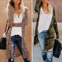 Womens Leopard Kimono Cardigan Open Front Boho Camo Long Sleeve Tops Maxi Coat