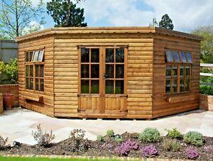 12x12ft Corner Log Cabin, 18mm Loglap