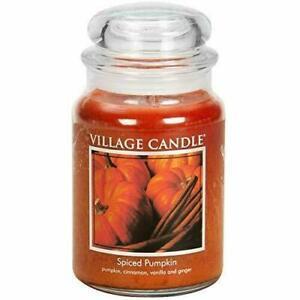 Village Candle Spiced Pumpkin  21.25 oz. Large Glass Jar Scented Candle