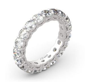 Jeulia Sterling Silver Round Cut Eternity Women's Ring Band Size 6 0650