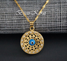 Nazat ojos cadenas remolque de oro gp sol pedrería oro Evil Eye moneda cadena incl.