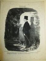 Honoré DAUMIER (1808-1879) Litho / BLANC CARICATURE OMBRE OPTIQUE BOIS D1426