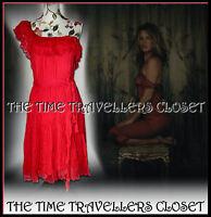 Kate Moss Topshop Rare 1st Collection Red Chiffon Ruffle Dress UK 10 12 RRP £240