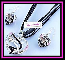 JB13 Popular Glass Love Heart Fashion Necklace & Drop Earring on Trend Style Set