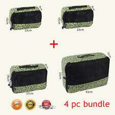 4Pcs Packing Cubes Travel Pouches Luggage Organiser Clothes Suitcase Storage Bag