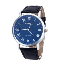 Women Men Unisex Lether Band Analog Quartz Business Dress Wrist Watch Black