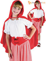 Girls Little Red Riding Hood Costume World Book Day Week Kids Fancy Dress Outfit