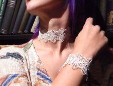 WHITE ORNATE LACE CHOKER & CUFF SET necklace bracelet lot romantic wedding B2