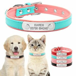 Personalised PU Leather Dog Cat Collars Adjustable with Free Engraving