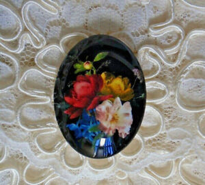 Color Floral On Black 30X40mm Glitter Unset Handmade Glass Art Bubble Cameo Cab