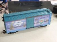 Lionel 8702 Large G Scale Christmas 2007 BLUE BOXCAR MERRY CHRISTMAS TO ALL