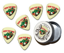 Grow Your Own Vegetables Martin Wiscombe 6 X Guitar Picks In Tin Vintage Retro