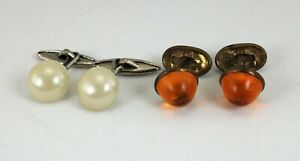 2 Pairs Victorian Cufflinks Faux Pearl Faux Amber Gold-Silver tone Free Shipping