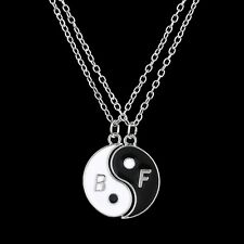 Yin and Yang 2 Piece Pendant Necklace Couples Best Friends BFF Gift UK