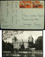 1949 Torino   Castello del  Valentino, viaggiata  Posta Aerea lire  6-