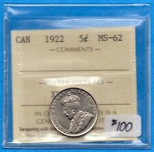 Canada 1922 5 Cents Five Cent Nickel Coin - ICCS MS-62