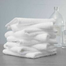 WHITE ANTIBACTERIAL FACE TOWELS 100% COMBED COTTON WASH TERRY TOWEL PACK OF 10