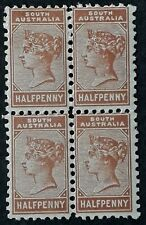 1890 South Australia Blk 4X1/2d Pale brown 2nd S/F New value stamps P13 Mint
