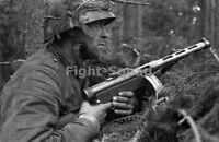 WW2 Picture Photo 1944 German soldier with KP-31 gun  2794