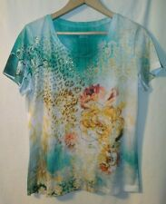 CHRISTOPHER & BANKS Embellished Floral Tee Knit Top Shirt * Size Small