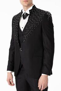 Jack Martin - Handmade Black Floral Diamante - Slim Fit 3 Piece Wedding Suit