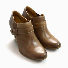 SOFFT Smooth Brown Leather Belt Strap Ankle Boot High Heel Booties Shoes 9.5 M