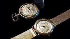 2 PC. SET Waltham Vintage Half Dollar Wrist Watch Limited Edition & Pocket Watch