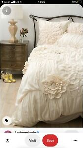 Anthropologie Giorgina Duvet Queen in Cream Color