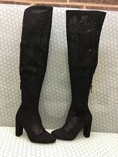 Steve Madden EDEN Black Perforated Textile Zip Over The Knee Boots Womens Size 8