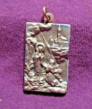 Our Lady of Lourdes Medal Pewter Engraved in Beautiful Detail Lightly Colorized