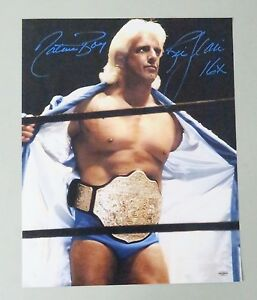 010512 Ric Flair Signed 16x20 WWE Wrestling Photo AUTO Autograph LEAF COA