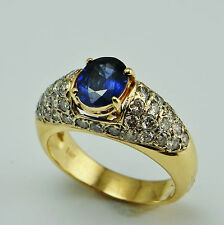 Blue Ceylon Sapphire Diamond Engagement Ring 14K Gold Solitaire Oval Cut Classic