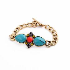 Bracelet Goutte Bleu Turquoise Art Deco Orange Baroque Retro Vintage CT5
