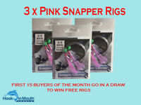 3 Surf Fishing Rigs - Pink - Paternoster - 60lb 5/0 Circle Hooks Salmon Snapper