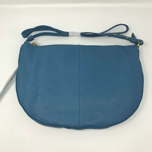 New NWT Women's Hobo Cosmo Leather Crossbody Bag Purse Blue