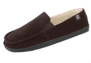 Isotoner A9B926 Chocolate Genuine Suede Tommy Closed Back Sherpa Lined Slippers