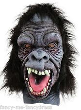 Mens Ladies Gorilla Rubber Face Mask Animal Halloween Fancy Dress Costume Outfit