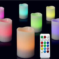 "3pcs Colors Remote Control Candles Flameless LED Light Ivory Set 4""5""6"" SS US"