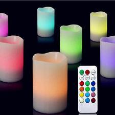 3pcs Beauty Colors Remote Control Candles Flameless LED Light Ivory Plastic Set