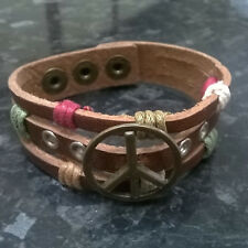 Brown Genuine Leather Urban Surfer Bracelet Wristband with Peace Sign