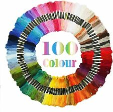 100 Colors Cross Stitch Thread Embroidery Floss Sewing Skeins 100% Cotton Line