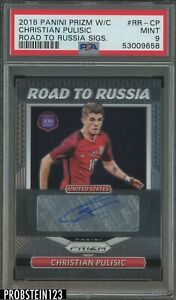 2018 Panini Prizm World Cup Soccer Road To Russia Christian Pulisic AUTO PSA 9