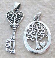 "925 STERLING SILVER ""FILIGREE KEY PENDANT OVAL TREE OF LIFE &HEART CHARM"" GIRL"