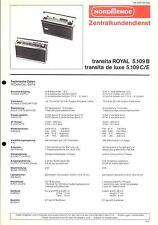 Nordmende Original Service Manual für Transita Royal 5.109B - de Luxe 5.109C/E